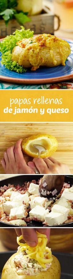 ¿Buscas una receta para tu parrillada? Esta receta fácil de papas rellenas de jamón y queso les fascinará a todos. Prepáralas en tu carne asada en tu asador o a la parrilla y agrega el jamón y queso que más te guste. ¡Alcanzarán para todos!