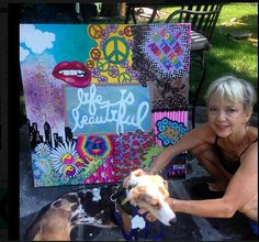 Custom Designed Wall Canvas being enjoyed by famous ballet teacher Carolyn Santonicola and her granddog Oliver. Famous Ballets, Denim Vests, Wall Canvas, Wall Design, Custom Design, Teacher, Jeans, Jeans Pants