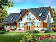 DOM.PL™ - Projekt domu DN KARMELITA GOLD 2M CE - DOM PC1-56 - gotowy koszt budowy Cute Baby Wallpaper, Micro House, House Stairs, Design Case, Home Fashion, Planer, Bungalow, Architecture Design, House Plans