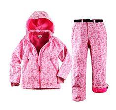 Tortor 1Bacha Kid Girls' Rabbit Print Snowsuit Ski Hooded Jacket Snow Pants Set