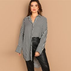Plus Size Women Blouse Drop Shoulder Black White Striped Long Shirt Ladies Ol Work Long Sleeve Top Blouses Black and White XXXL Black And White Fabric, Black White Stripes, Collars For Women, Blouses For Women, T Shirt Court, Dark Skinny Jeans, Loose Shirts, Collar Styles, Stripes