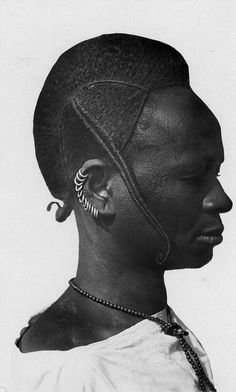 Africa Zulu woman with her traditional hairstyle. ca