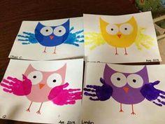 Fun handprint art activities for children Kids Crafts, Owl Crafts, Daycare Crafts, Craft Projects For Kids, Craft Activities For Kids, Baby Crafts, Toddler Crafts, Art Projects, Craft Ideas