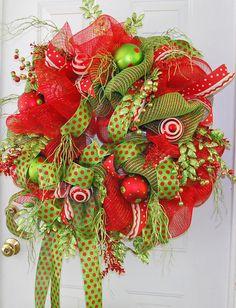 Deco Mesh Christmas Door Outdoor Wreath by LadybugWreaths