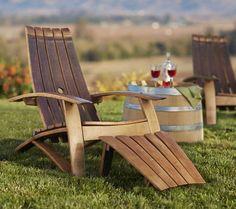 Wine Barrel Adirondack Chair and Footstool - VivaTerra