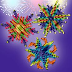 Make your own fireworks with Perler beads in 3 colorful patterns. Great for picnic decorations!