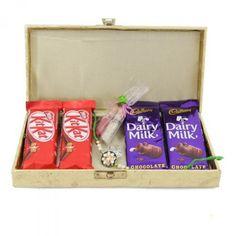 Rakhi with Chocolate Box via Raksha Bandhan Gifts, Rakhi Gifts, Chocolate Box, Online Gifts, Lunch Box, Gift Wrapping, Gift Wrapping Paper, Wrapping Gifts, Bento Box