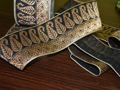 Brocade border pattern/lace jacquard weaving boarder has paisley and floral pattern design all over and trim manufacturing indian jacquard trimmings brocade saree lace hand-loom border with gold zari online saler of jacquard designer border Gold Pattern, Paisley Pattern, Pattern Design, Border Pattern, Brocade Saree, Brocade Fabric, Lace Weave, Jacquard Weave, Metallic Thread