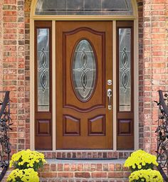 Classic-Craft Mahogany Collection fiberglass door with Longford decorative glass Front Door Design Wood, Door Gate Design, Main Door Design, Front Door Entrance, Glass Front Door, Sliding Glass Door, Front Doors, Gray Front Door Colors, Glass Bathroom Door