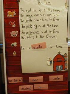 Kindertips kindergarten literacy centers farm prepositions