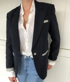 It's blazer time! Beautiful tailored navy linen blazer with hand loomed stripe lining, mother of pearl buttons. It's a classic, it's a staple, it's a forever piece. Linen Blazer, Mother Of Pearl Buttons, Sustainable Fashion, Navy, Classic, Jackets, Beautiful, Instagram, Hale Navy