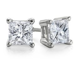 Essential Princess-Cut Diamond Stud Earrings. ($650) ❤ liked on Polyvore featuring jewelry, earrings, accessories, brincos, jewels, diamond jewellery, blue nile earrings, princess cut earrings, diamond earrings and 14 karat gold earrings