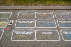 """This is amazing! Candy Chang installs art projects all over the place that are thought provoking, clever and just plain awesome. This one: a well-traveled sidewalk between dorms and a university campus called """"Career Path"""" with two simple statements for people to complete: When I was little I wanted to be... Today I want to be..."""