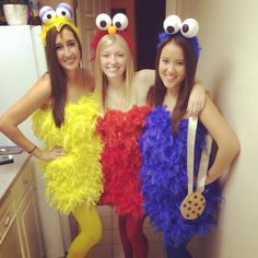 best ideas for big bird diy cookie monster Hallowen Costume, Group Halloween Costumes, Group Costumes, Girl Costumes, Costumes For Women, Halloween Party, Halloween 2017, Costume Ideas, Big Bird Costume