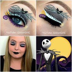 Halloween Jack Skellington Schmink-Look - Halloween Eye Makeup, Holiday Makeup, Christmas Makeup, Disney Eye Makeup, Disney Inspired Makeup, Makeup Eye Looks, Crazy Makeup, Make Up Designs, Creative Eye Makeup