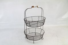 Amazon.com - Vintage Style Two Tiered Vegetable Basket Stand- Shabby Chic Country Home Decor - Home Storage Baskets