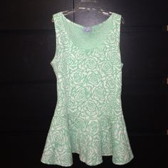 Sleeveless top Beautiful sleeveless top! Mint green and off white color combination-  size:M 40%polyester 58% cotton 2% spandex Tops Tank Tops