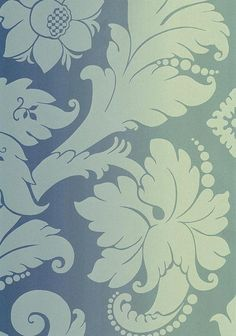 Villiers Damask Wallpaper Damask wallpaper in aqua printed on a shiny turquoise blue shading to gold background