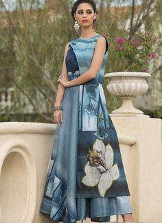 Look charming and fashionable by cladding into this blue art silk #longgown.