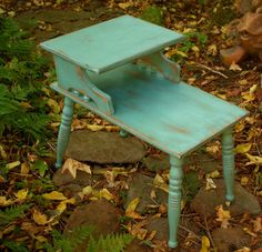 Mid Century Table - Turquoise - Upcycled Furniture - Honey's Treasures…