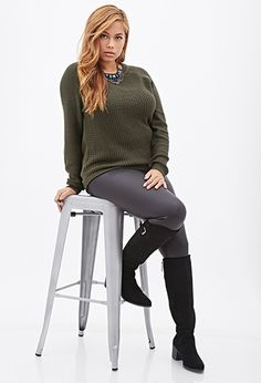 Contrast-Front Knit Sweater | FOREVER21 PLUS - 2000137623