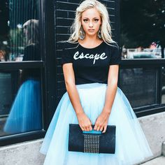 fall in love with this sky blue tulle midi skirt! We are crazy about it's radiant color! We love it with graphic tees, black leather jacket and ankle boots!