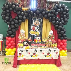 Mickey Mouse Birthday by us Mickey Mouse Party Decorations, Mickey Mouse Birthday Decorations, Mickey 1st Birthdays, Mickey Mouse Balloons, Fiesta Mickey Mouse, Mickey Mouse First Birthday, Mickey Mouse Clubhouse Birthday Party, Mickey Mouse Parties, Mickey Party