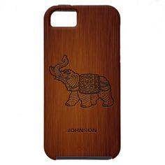 Retro Elephant with Custom Name & Luxury Rosewood iPhone 5 Cases