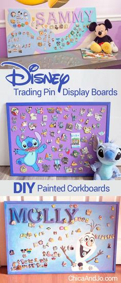 Disney pin trading collection display board ideas. | Chica and Jo @waltdisneyworld #disneypintrading