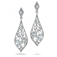 Bling Jewelry CZ Filigree Dangle Teardrop Earrings 925 Sterling Silver ** Read more reviews of the product by visiting the link on the image. (This is an affiliate link and I receive a commission for the sales)