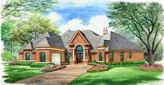 This one-story luxury house plan offers everything on one level. The groin-vaulted ceiling in the foyer opens directly into the family room, with built-ins and a warming fireplace.