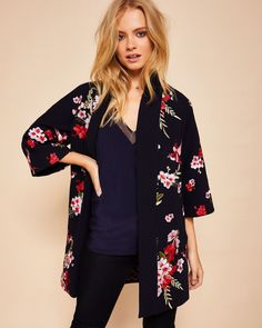 829214cf3 AURIAN Bird and Blossom embroidered kimono  TedToToe Navy Jacket