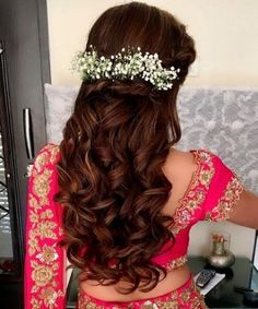 Ideas For Hair Styles Indian Wedding Braids Bridal Hairstyle Indian Wedding, Wedding Curls, Bridal Hairdo, Wedding Braids, Indian Wedding Hairstyles, Wedding Hair Down, Indian Wedding Makeup, Dress Wedding, Engagement Hairstyles