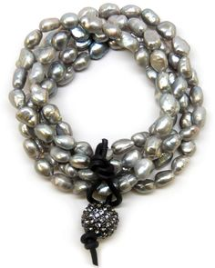 Multi-strand silver cultured pearl bracelet