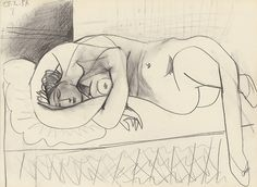 Pablo Picasso 1954. Such a fan of his sketching.