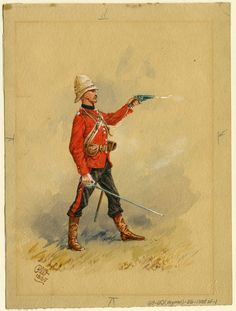 """victoriansword: """"An Officer of the Scots Guards, Suakin Expedition, 1885 by Reginald Augustus Wymer"""" Great British, British Army, Colonial, British Uniforms, British Armed Forces, Army Uniform, Zulu, East Africa, Military Art"""