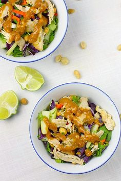 Simple Thai Chicken Salad with a variety of flavors - spicy, sweet, peanut, lime, chili and chicken - topped with an addictive peanut dressing #thai #salad #chicken