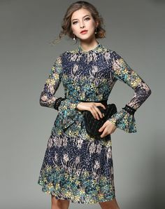 #VIPme Yellow Trumpet Sleeve Jacquard A-line Midi Dress. VIPme.com offers quality dresses at affordable prices.