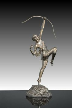 *Pierre Le Faguays   Silver plated bronze Diana 1927