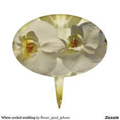 White orchid wedding cake picks