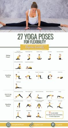 Practice these top yoga poses and stretches daily to improve your body flexibility in no time. They target main muscle groups such as hips, hamstrings, shoulders, which are the first to suffer from a sedentary and inactive lifestyle.