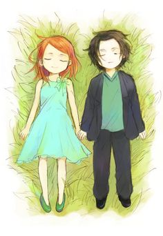 Severus Snape and Lily Potter Harry Potter Anime, Harry Potter Universe, Harry Potter Kawaii, Arte Do Harry Potter, Harry Potter Drawings, Yer A Wizard Harry, Harry Potter Love, Harry Potter World, Lily Potter