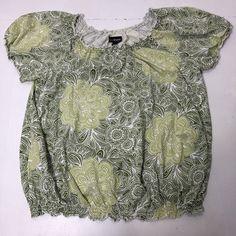 d22cb3c4c29 Women s Plus Size 22 24W Lane Bryant Green Floral Print Peasant Boho Blouse  Top
