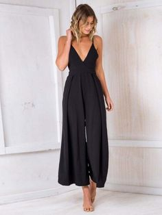 bf49992f95ef Sexy Spaghetti Strap Solid Color Wide Leg Pants Jumpsuit Rompers