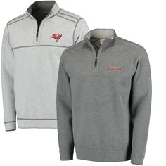 a21e72256 Men s Tommy Bahama Pewter Heathered Gray Tampa Bay Buccaneers Flipside Pro  Half-Zip Reversible
