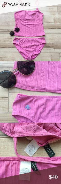 Lauren Ralph Lauren Pink Cable Knit Tankini Lauren Ralph Lauren tankini with cable knit look and blue embroidered logo. Comes in two pieces, but covers like a one piece. May show some skin in the middle (where the two pieces meet) depending on how long your torso is... mine would usually show about an inch! Super cute and comfortable! 😎 Lauren Ralph Lauren Swim One Pieces