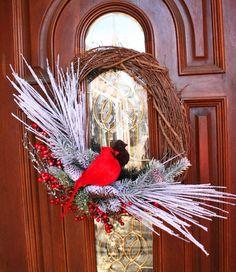 Seasonal Winter Wreath  Grapevine Wreath by ShadesOfTheSeasons