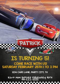 Cars 3 Birthday Invitation DIGITAL Party Invite Cards Digital File Pri