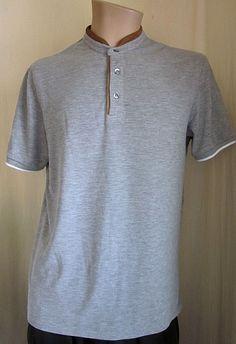 cfa3af7bc ZARA MAN Men's Gray Brown Short Sleeve 3 Button Shirt XL XLarge #ZaraMan  #Henley