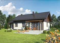 """""""Rumiankowy - wariant II"""" Murator C310b - niewielki, skromny dom parterowy z programem zaspokajającym potrzeby 4-osobowej rodziny."""
